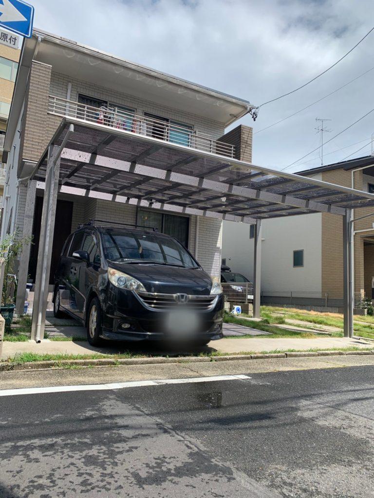 愛知県名古屋市中村区の新築戸建住宅にて、カーポート新設工事を行いました。【窓香房】