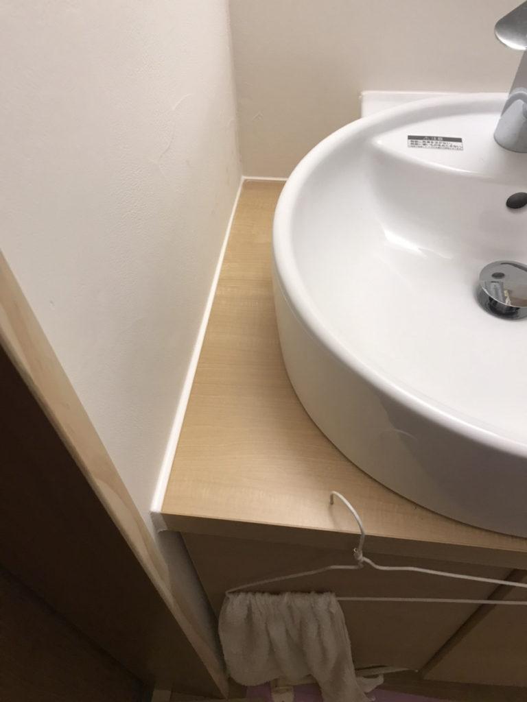 知多郡東浦町にて、洗面所のコーキング工事を行いました。【窓香房】