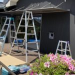 愛知県豊明市にて、ひさしの後付け工事を行いました。(YKKコンバイザーアームスタイル連棟タイプ)【窓香房】
